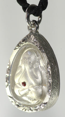 White Phra Pidta Amulet in Pearl Shell Finish - Nice!