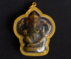 Large Bronze Ganesh Elephant Amulet in Gold Plated Case
