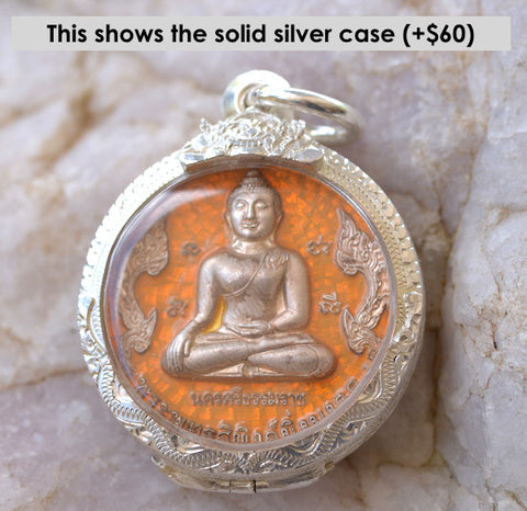 Solid silver Sothorn Buddha style amulet from Nakhon Si Thammarat, Thailand.