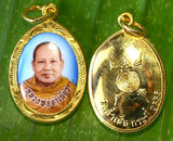 Ajahn Jumnien Photo Amulet with Gold Back