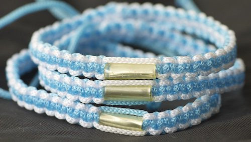 3 White and Blue Blessed Theravada Buddhist Bracelets