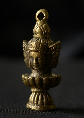 Solid Brass 4-Headed Buddha Amulet