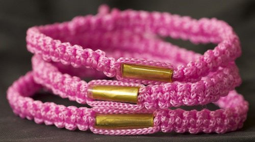 3 Solid Bright Pink Blessed Theravada Buddhist Bracelets