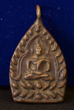 Bronze Somdej Buddha on Bodhi Leaf in Full Lotus Meditation