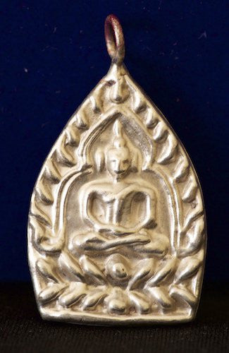 Silver Somdej Buddha on Bodhi Leaf in Full Lotus Meditation