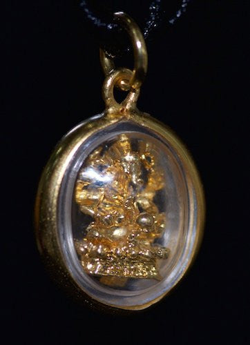 Small Gold Oval Ganesh Amulet