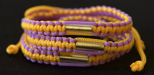 3 Purple and Gold Blessed Theravada Buddhist Bracelets