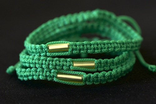 3 Solid Green Blessed Theravada Buddhist Bracelets