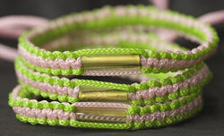 3 Lime Green and Pink Blessed Theravada Buddhist Bracelets