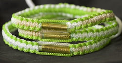 3 Lime Green and White Blessed Theravada Buddhist Bracelets