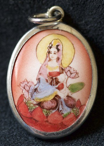 Kwan Yin on Red Lotus Flower and Melon Background Amulet