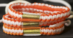3 Orange and White Blessed Theravada Buddhist Bracelets