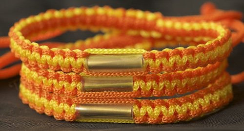 3 Orange and Gold Blessed Theravada Buddhist Bracelets