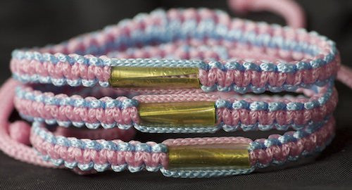 3 Blue and Pink Blessed Theravada Buddhist Bracelets