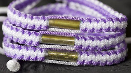 3 Purple and White Blessed Theravada Buddhist Bracelets