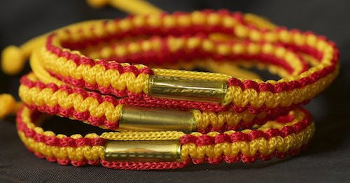 3 Red and Gold Blessed Theravada Buddhist Bracelets
