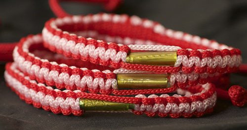 3 Red and Pink Blessed Theravada Buddhist Bracelets