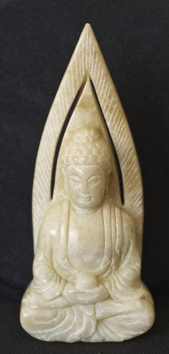 Stone Carved White Buddha in Meditation Statue