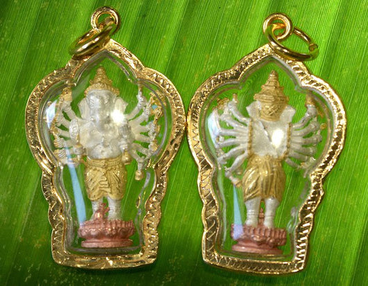Tri-color Kwan Yin as Ganesh with 1000 Arms Amulet