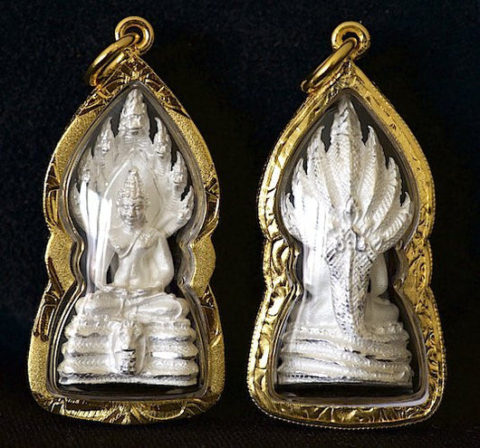 White Sothorn Buddha with Naga Aura Amulet