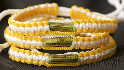3 Yellow and White Blessed Theravada Buddhist Bracelets