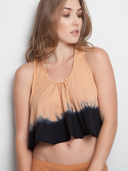 Nude Dark Gray Hand Dyed Top