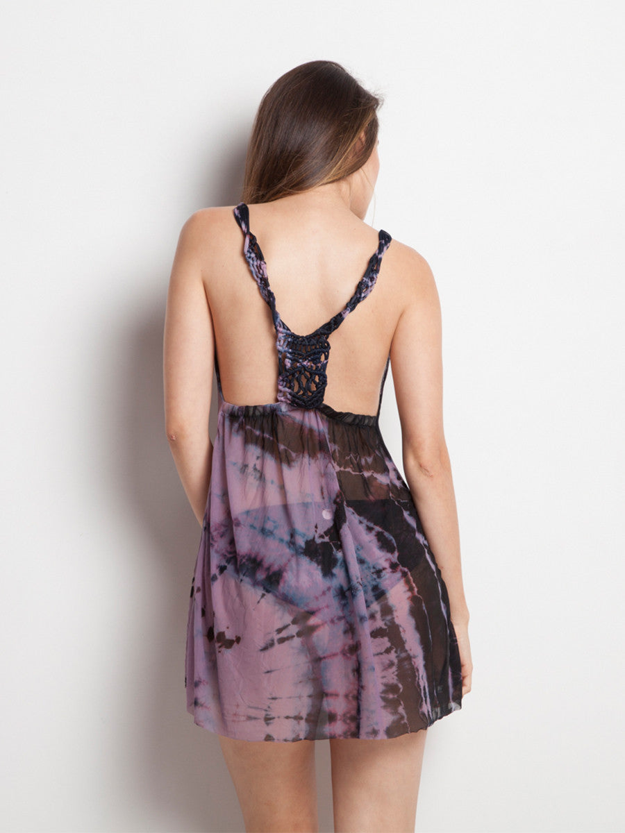Dark Cosmic dress with woven back