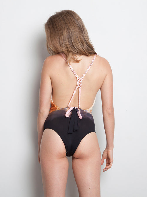 Nude Baby Pink Dark Gray Hand Dyed Uncovered Back One Piece