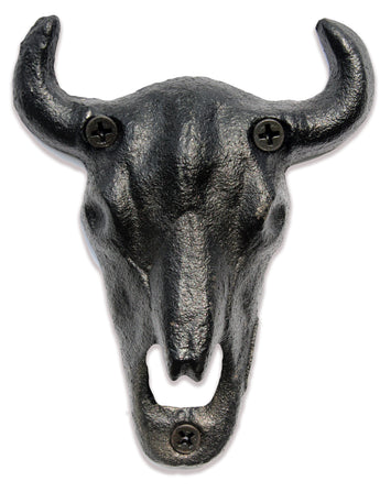 Longhorn Steer Skull Wall Mounted Bottle Opener
