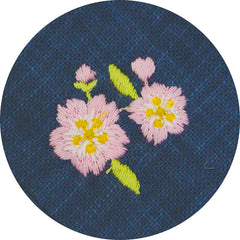 50 Fuku Fuku Embroidery | Cherry Blossoms & Mt. Fuji Navy Blue