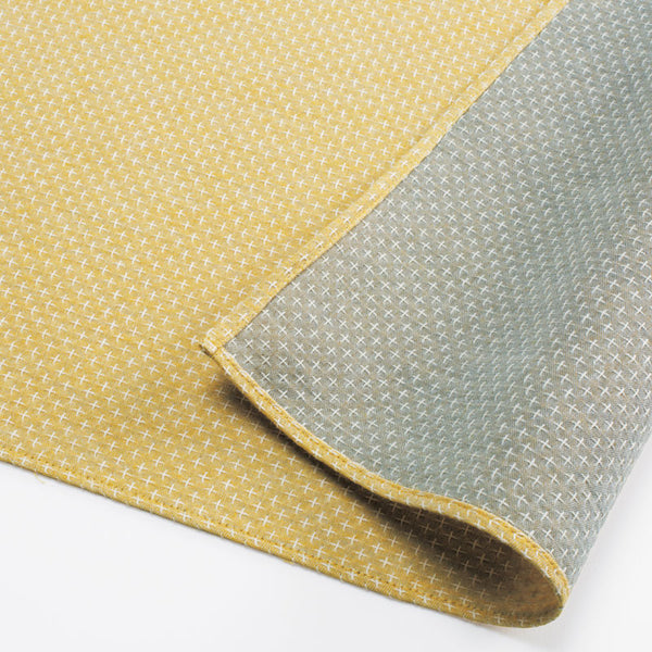 48 Double Gauze Sashiko Reversible | Cross Stitch Yellow/Beige
