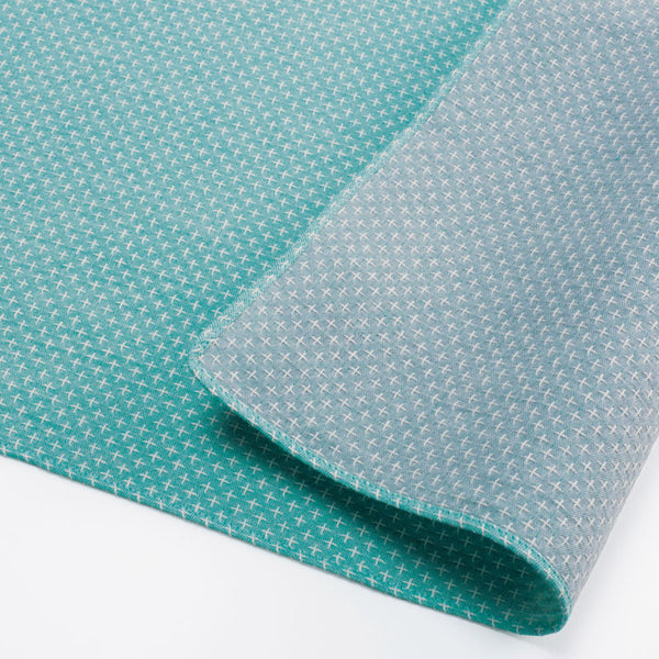 48 Double Gauze Sashiko Reversible | Cross Stitch Green/Gray