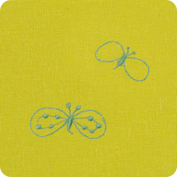 100 mina perhonen Linen Embroidery L | Chou Cho Yellow/Blue
