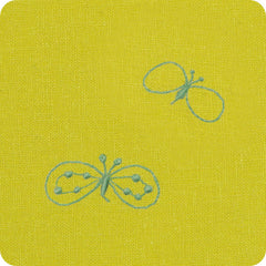 100 mina perhonen Linen Embroidery L | Chou Cho Yellow/Bluee