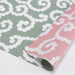 50 mina perhonen Cotton Gauze Reversible | Karakusa Moss Green/Light Pink