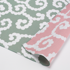 100 mina perhonen Cotton Gauze Reversible | Karakusa Moss Green/Light Pink