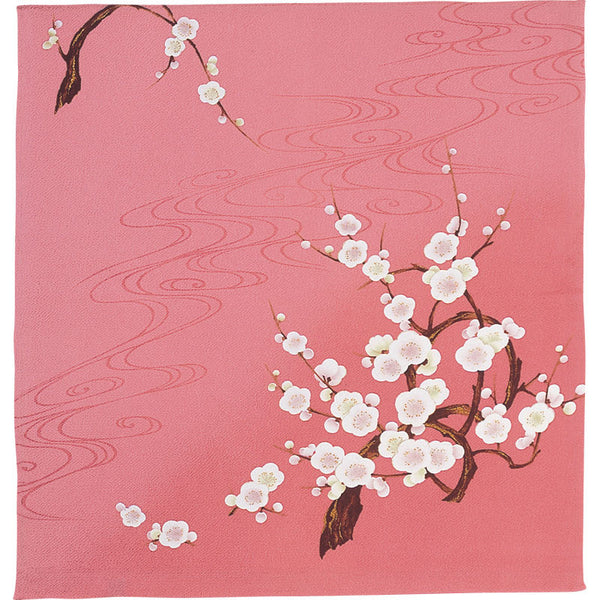 68 Silk Chirimen Yuzen Dyeing No.9 (Medium weight) | Japanese Apricot With Wave Rose