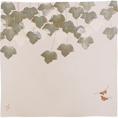 68 KARACHO Silk Chirimen Yuzen Dyeing | Butterfly With Ivy In Koetsu Style white