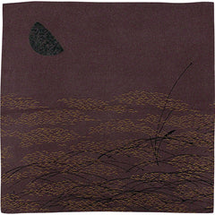 68 KARACHO Silk Chirimen Yuzen Dyeing | Moon With Awns In Koetsu Style Brown