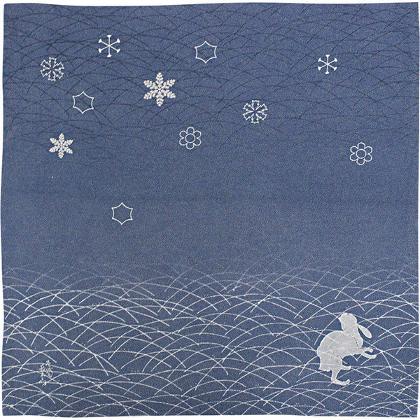 68 KARACHO Silk Chirimen Yuzen Dyeing | Snow Crystals With Rabbit In Koetsu Style Navy Blue