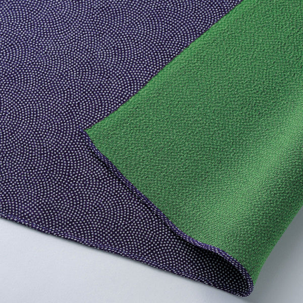 45 Silk Chirimen-Reversible No.5 (Light weight) | Fine Sharkshin Pattern Purple/Green