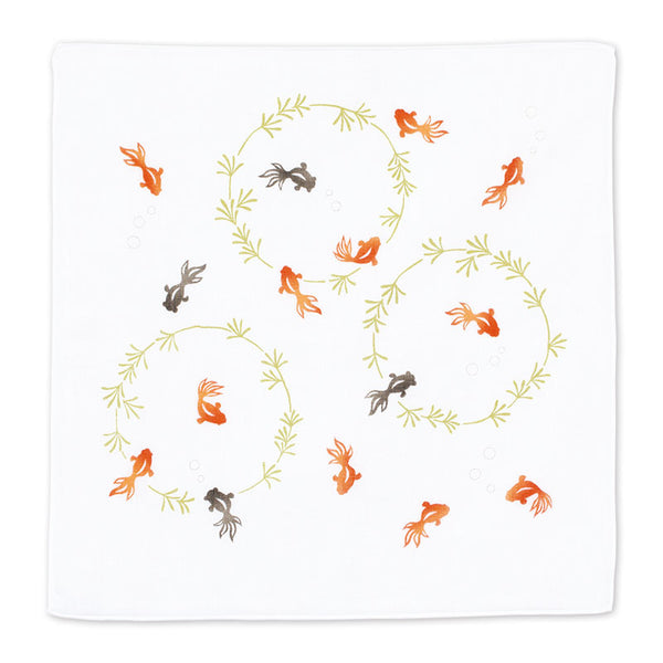 Gauze Handkerchief | Goldfish and Waterweed Vermilion