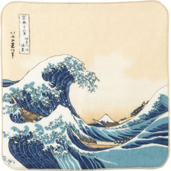 Ukiyo-e Gauze Pile Handkerchief | Under The Wave Off Kanagawa Beige
