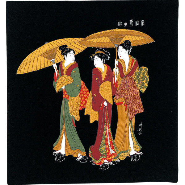 68 Ukiyo-e Rayon Chirimen Yuzen Dyeing | Three Women In The Rain Black