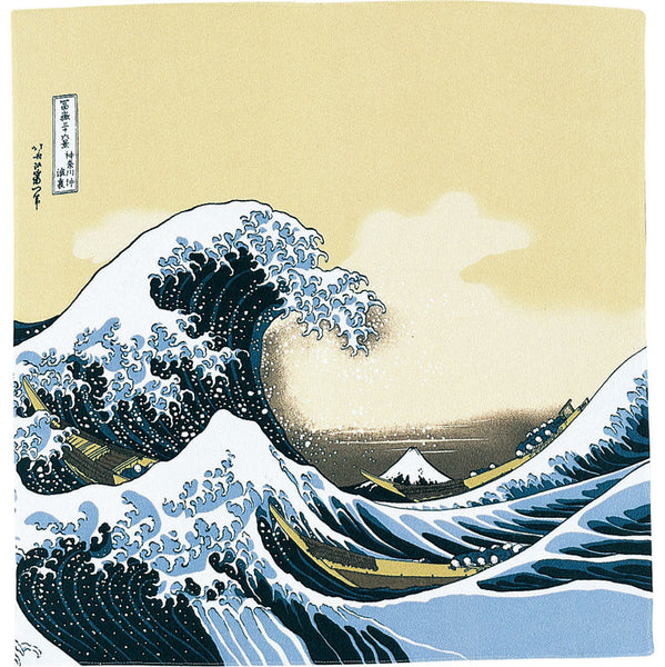 68 Ukiyo-e Rayon Chirimen Yuzen Dyeing | Under The Wave Off Kanagawa Beige