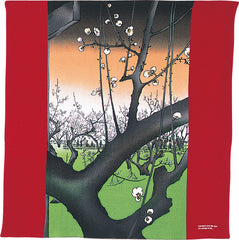 68 Ukiyo-e Rayon Chirimen Yuzen Dyeing | The Plum Garden At Kameido Dark Red