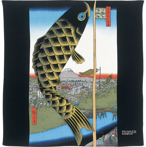 68 Ukiyo-e Rayon Chirimen Yuzen Dyeing | Suido Bridge And Surugadai Black