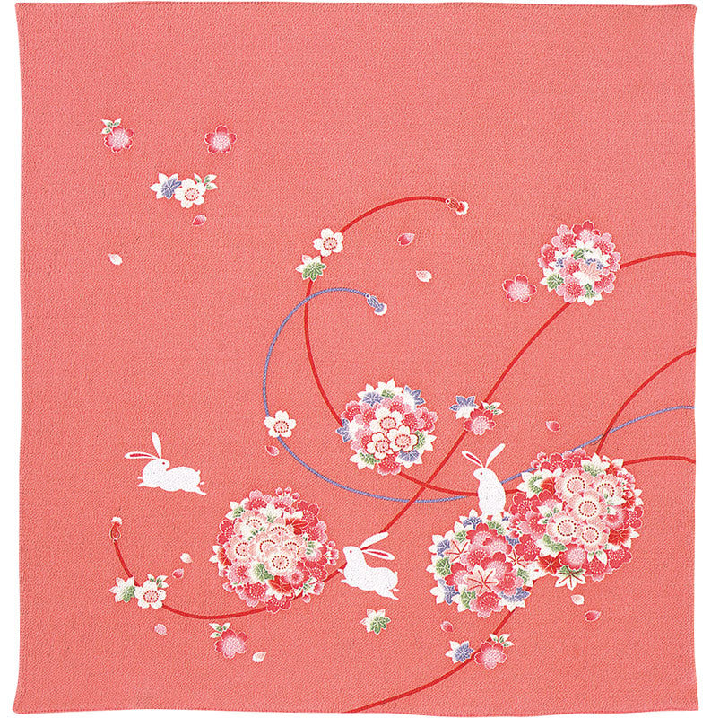 68 Rayon Chilimen Koyomi | Rabbits With Flower Balls Pink