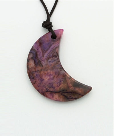 Natural stone crescent moon necklace -Necklaces-Ametsuchi