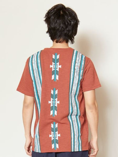 Navajo Pattern Back Print Pocket T-shirt-Ametsuchi